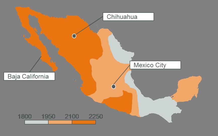 Solar Mexico Solar Irradiation Mexico Map